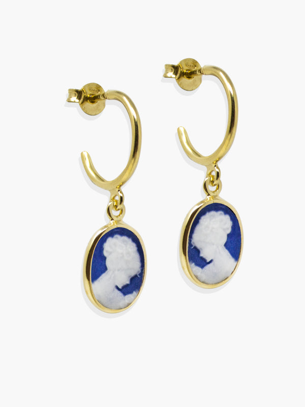 Blue Mini Cameo Hoop Earrings