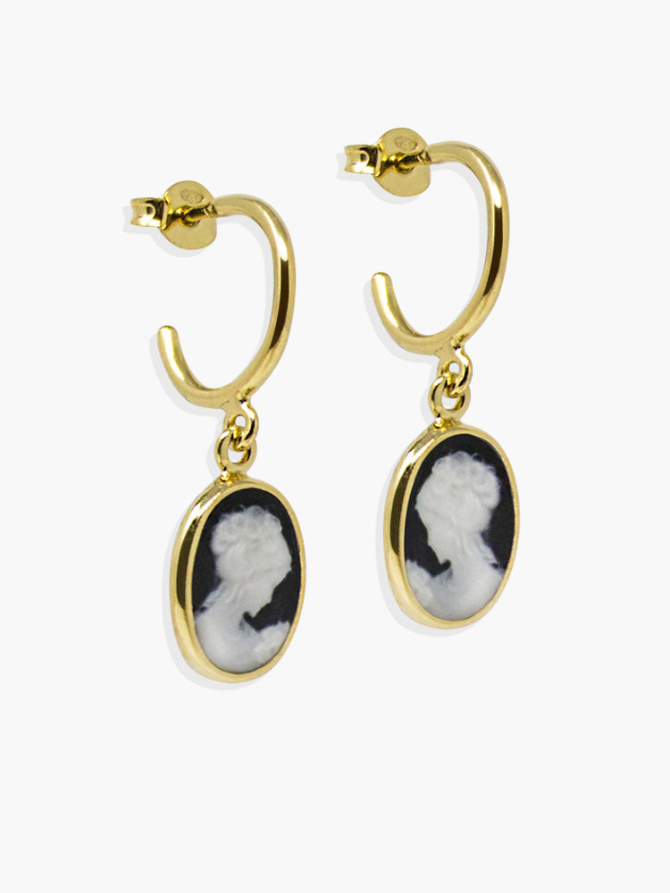 Black Mini Cameo Hoop Earrings