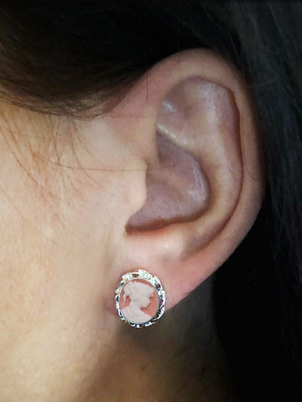 Pink Mini Cameo Stud Earrings