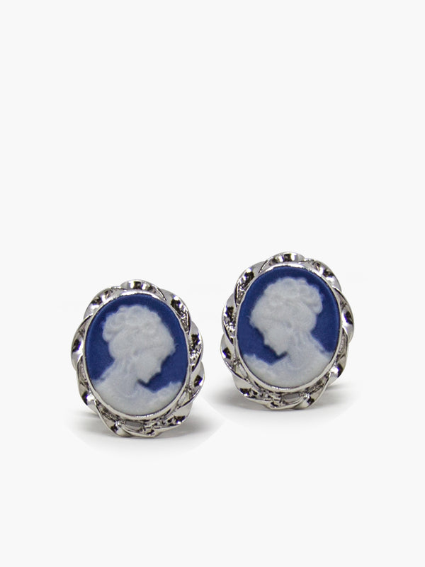 Blue Mini Cameo Stud Earrings