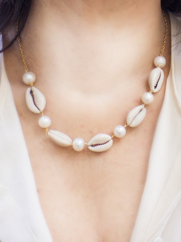 Five Cowries & Six Pearls Necklace