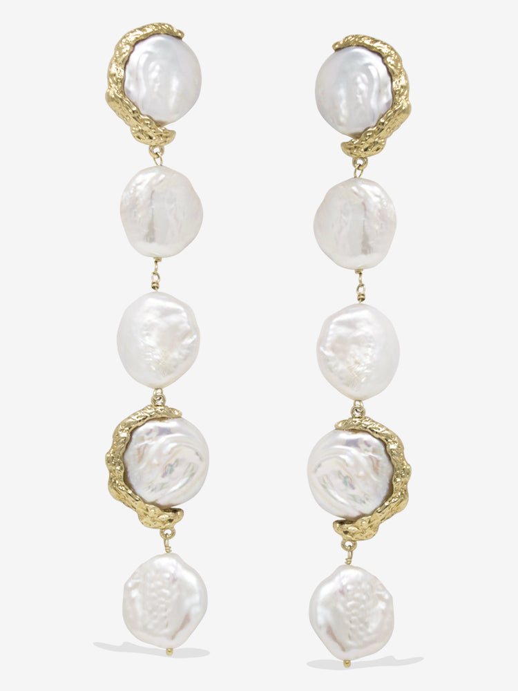Ad Astra Gold-plated Pearl Statement Earrings