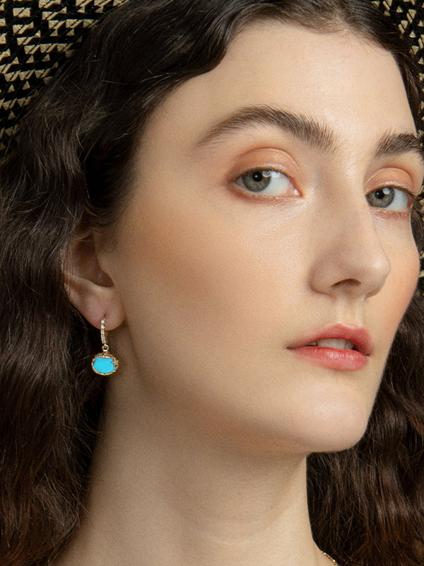 Ad Astra Gold-plated Turquoise Mini Hoop Earrings