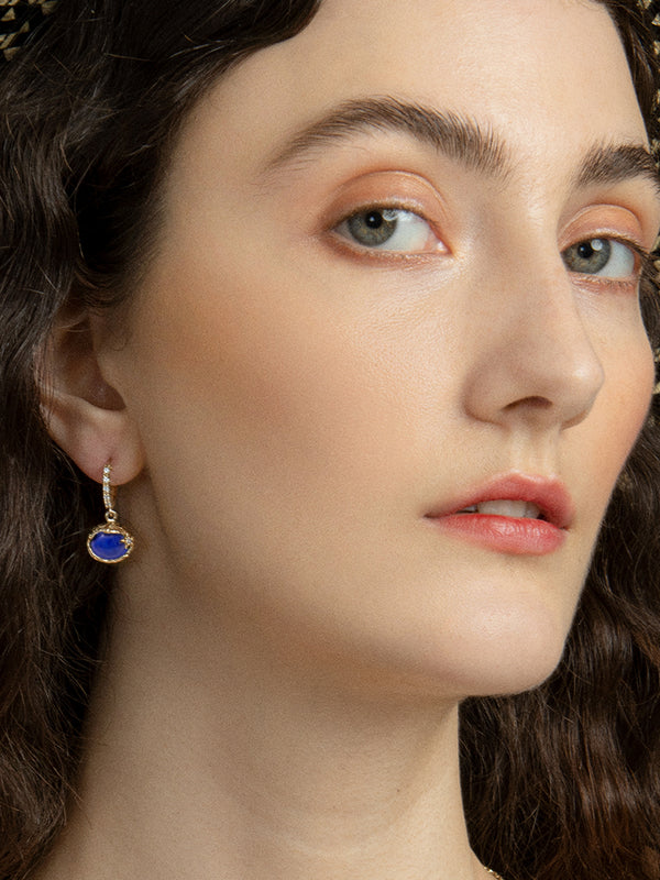 Ad Astra Gold-plated Lapis Lazuli Mini Hoop Earrings