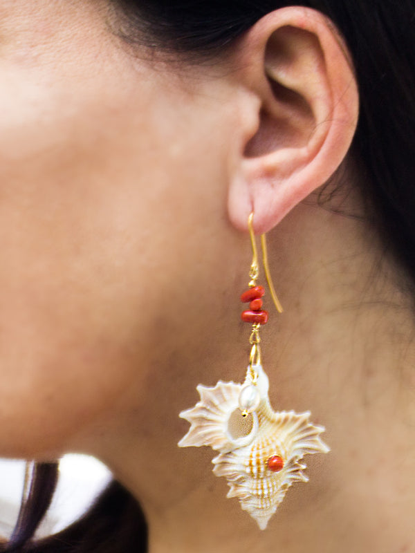 Mama Africa Coral & Pearls Shell Earrings