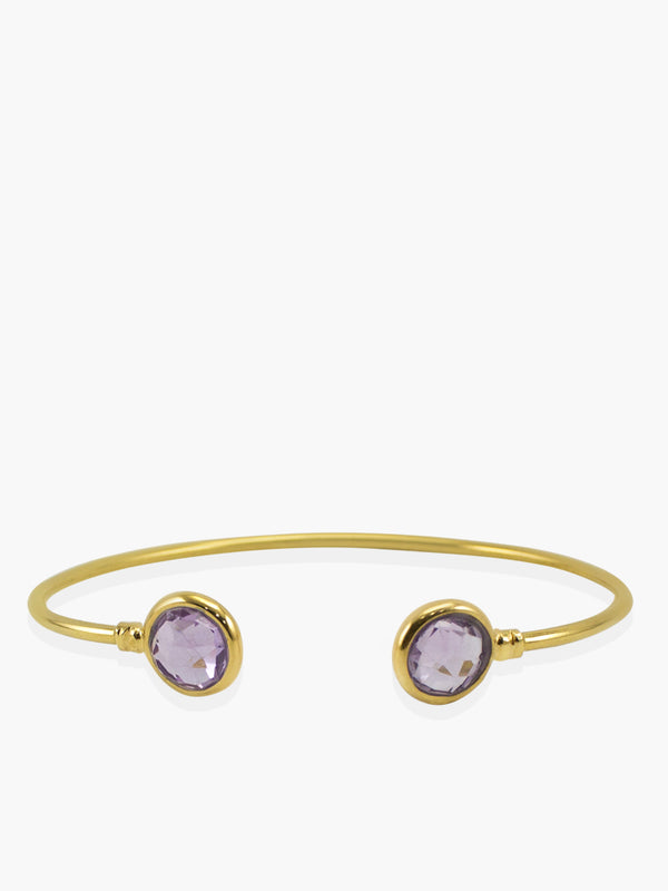 Capri Amethyst Cuff Bracelet handmade by Vintouch Jewels in 18k gold plated silver