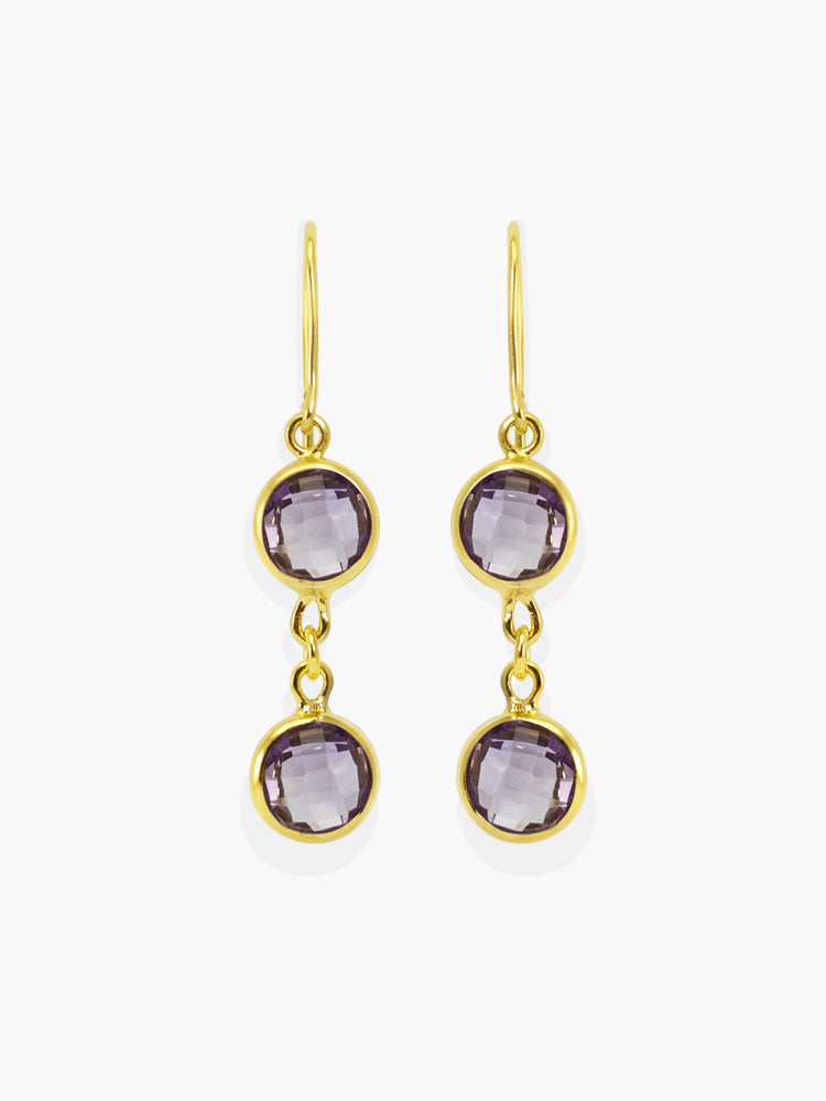 Capri Amethyst Earrings handmade by Vintouch Jewels, available either in 18k gold plated silver or 14k yellow gold