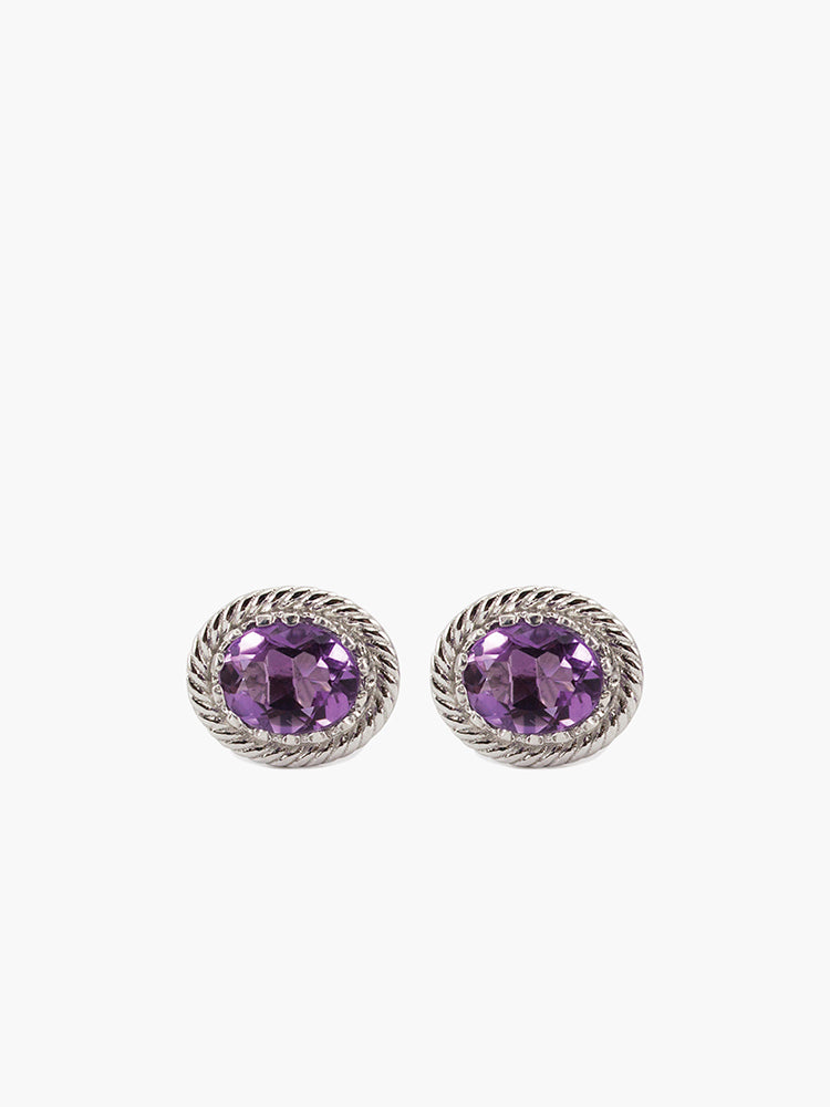 Amethyst Stud Earrings by Vintouch Jewels, handmade from 925 sterling silver.