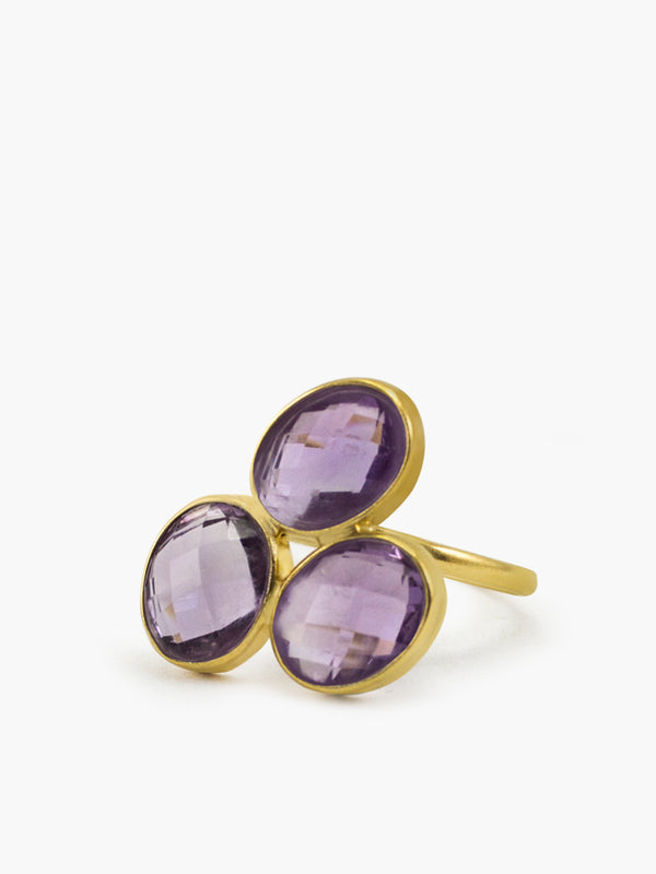 Capri Amethyst Ring handmade by Vintouch Jewels in 18k gold plated silver