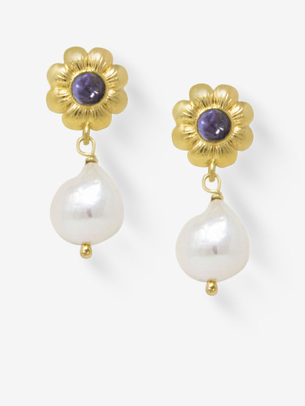 Mini Flower Gold-plated Iolite Earrings