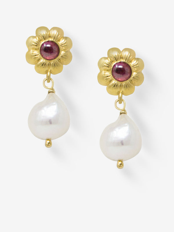 Mini Flower Gold-plated Rhodolite Earrings
