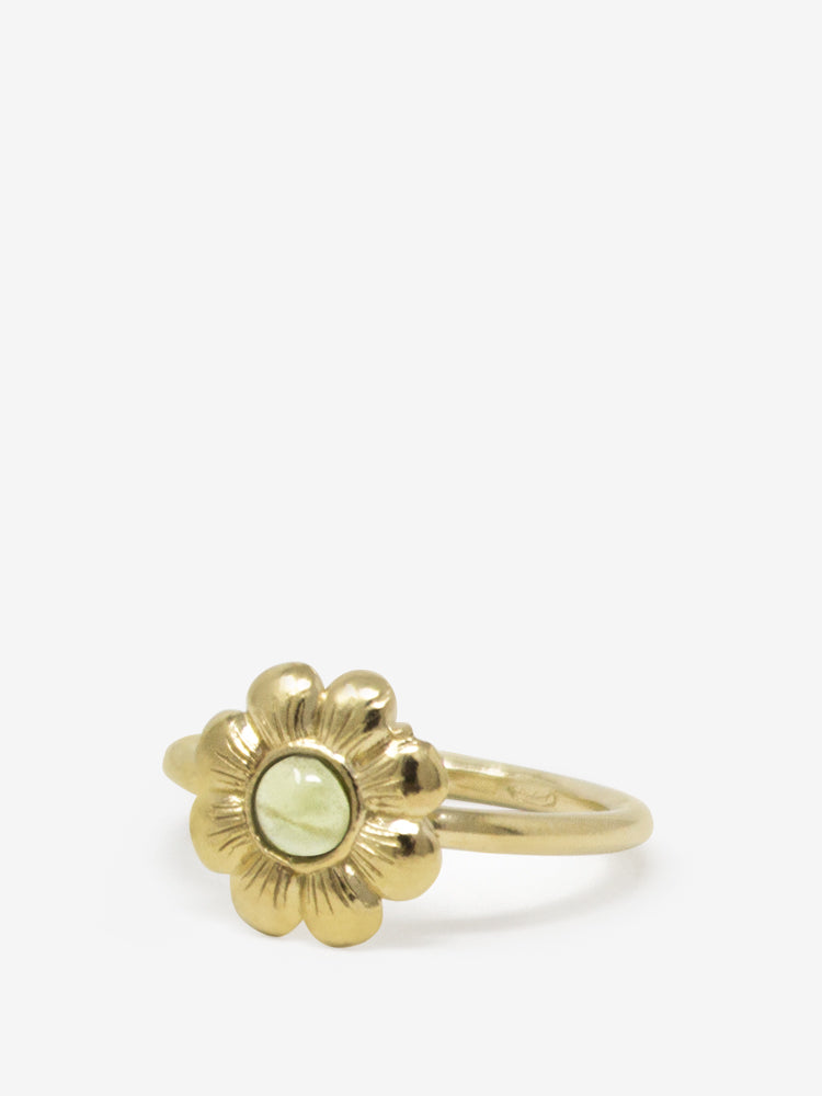 Mini Flower Gold-plated Peridot Ring