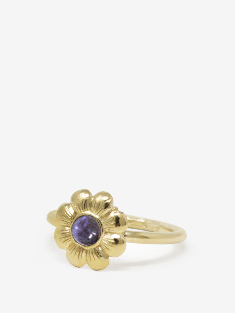 Mini Flower Gold-plated Iolite Ring