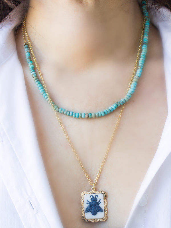 Bee Cameo & Turquoise Layered Necklace