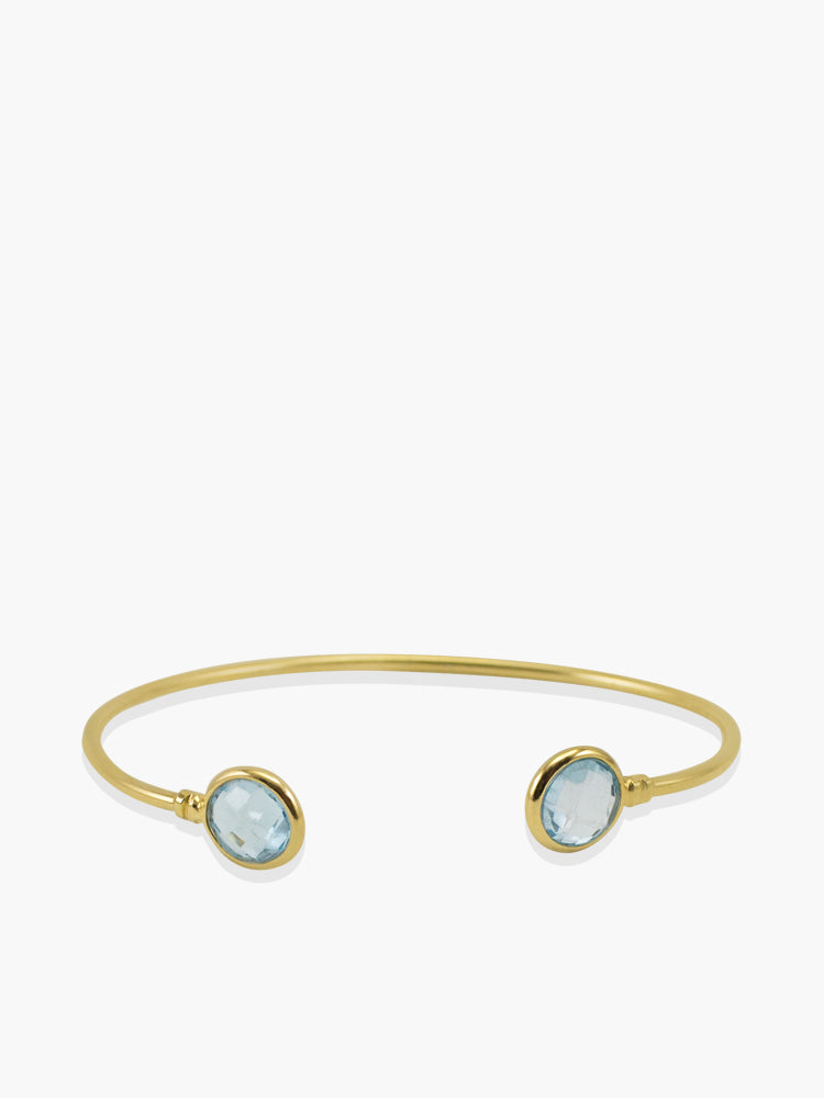 Positano Sky Blue Topaz Cuff Bracelet handmade by Vintouch Jewels in 18k gold plated silver