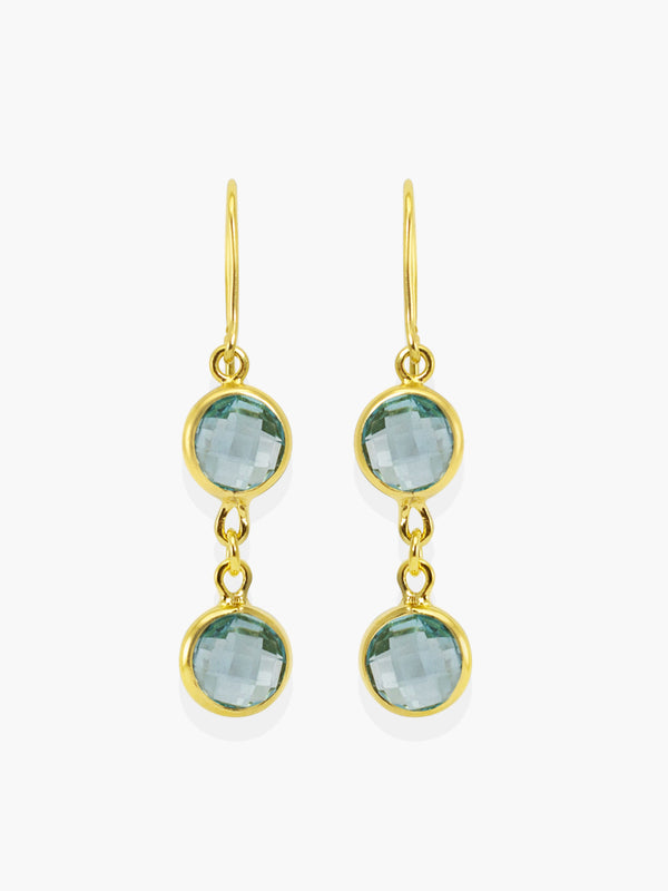 Capri Sky Blue Topaz Earrings handmade by Vintouch Jewels, available either in 18k gold plated silver or 14k yellow gold.