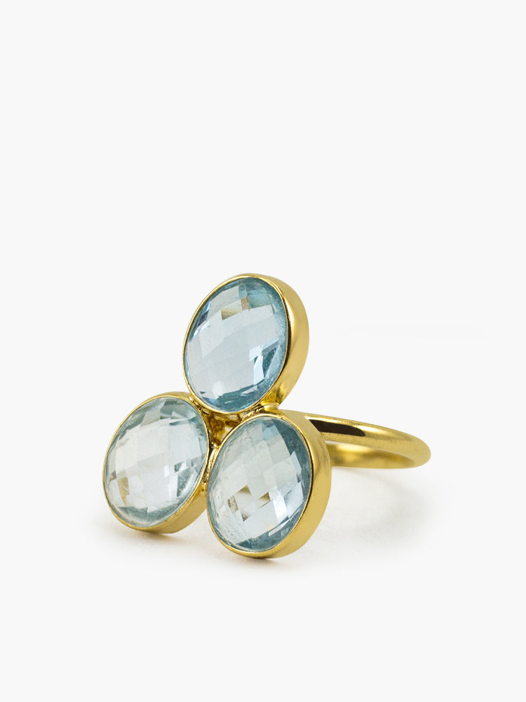 Positano Sky Blue Topaz Ring handmade by Vintouch Jewels in 18k gold plated silver