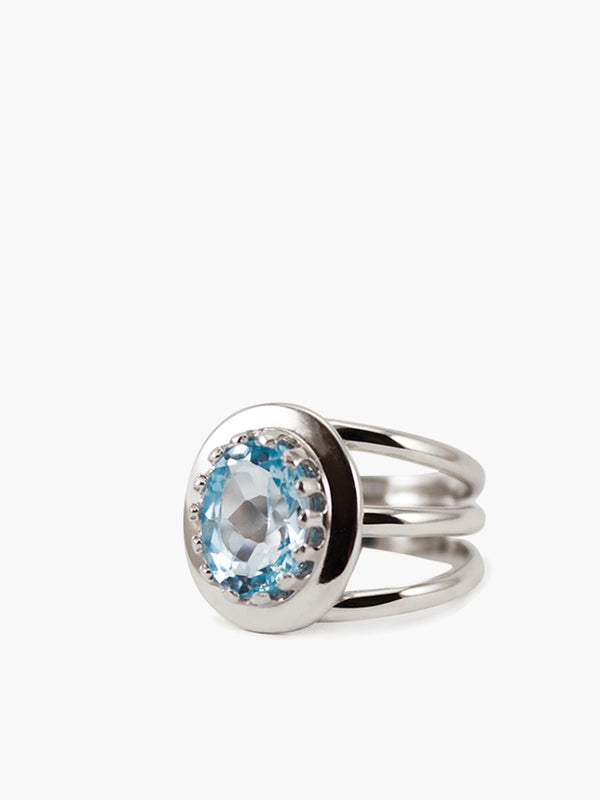 Sky Blue Topaz Triple Band Ring by Vintouch Jewels.
