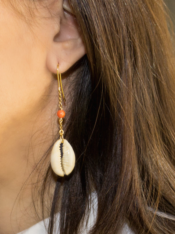 Vintouch Chained Coral Cowry Shell Earrings