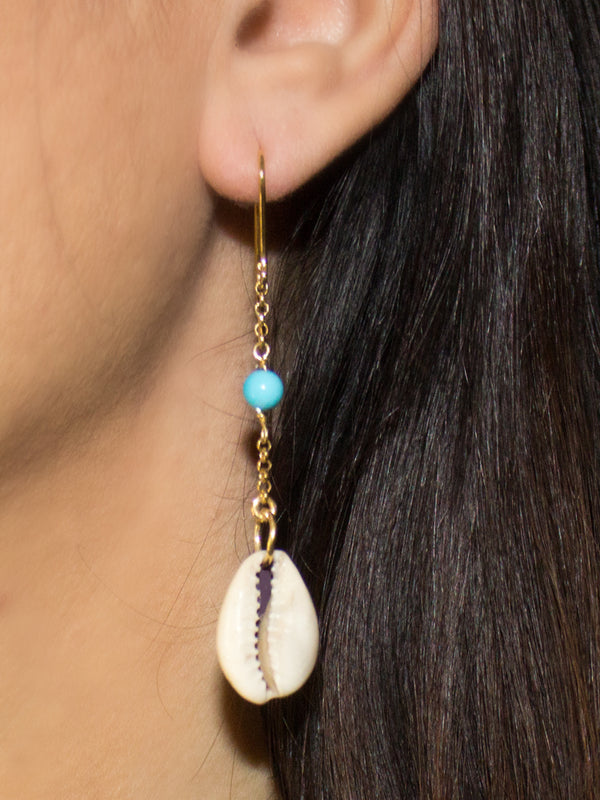 Vintouch Chained Turquoise Cowry Shells Earrings