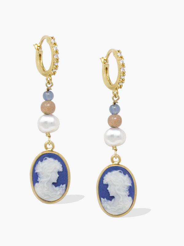 Little Lovelies Gold-plated Blue Cameo Hoop Earrings