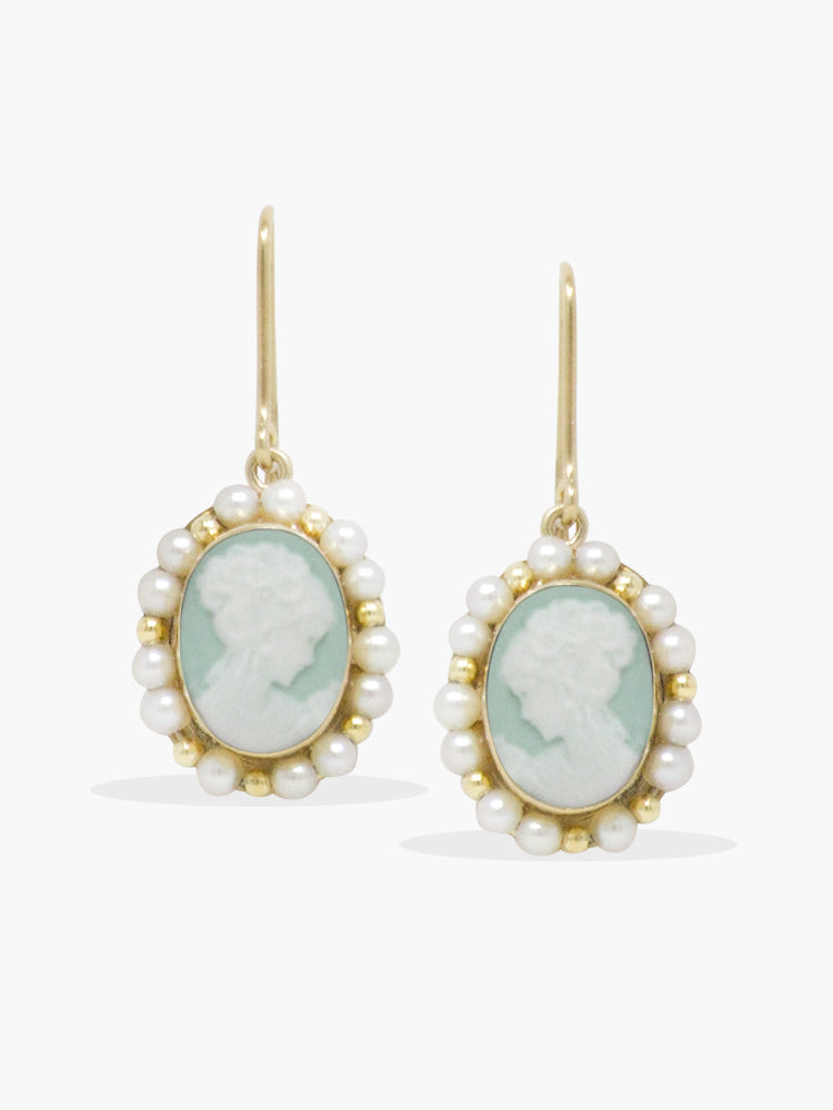 Little Lovelies Green Cameo Pearly Earrings