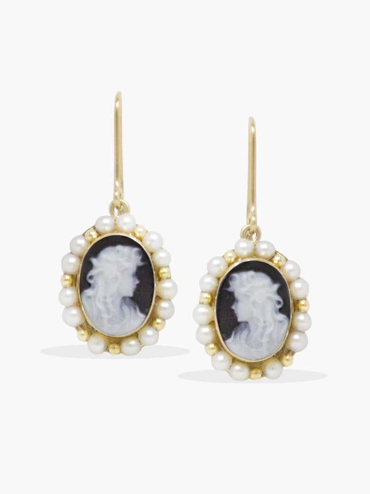 Vintouch Italy Little Lovelies Black Cameo Pearly Earrings