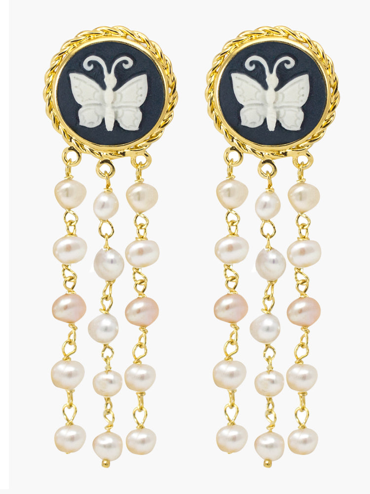 Vintouch Butterfly & Pearls Stud Earrings