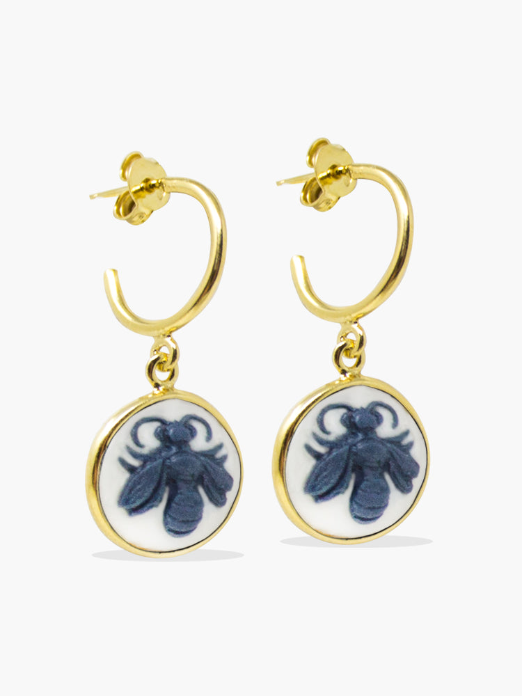 18-karat Gold-plated Silver Queen Bee Cameo Mini Hoop Earrings handmade in Italy by Vintouch Jewels