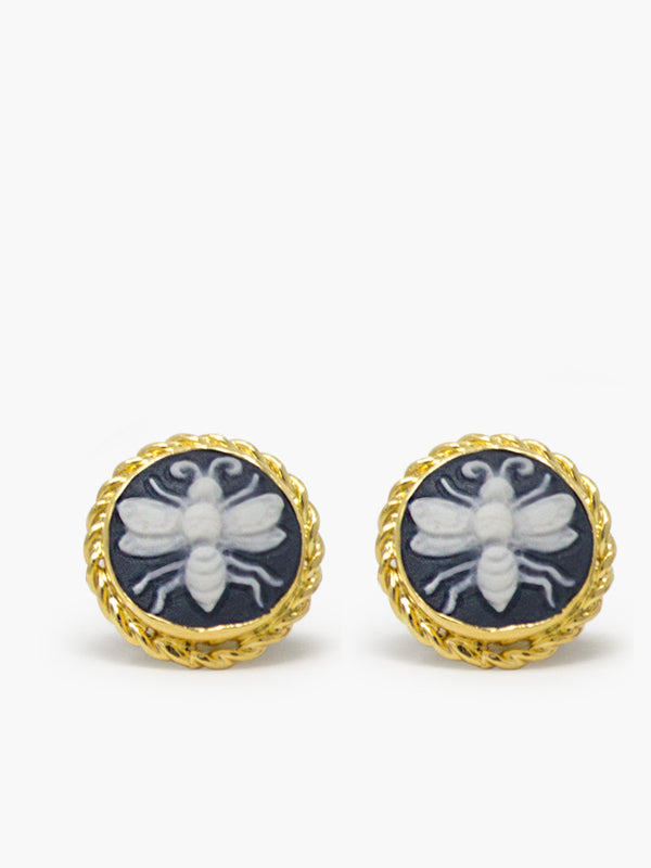 Gold-plated Black Bee Cameo Stud Earrings by Vintouch Jewels