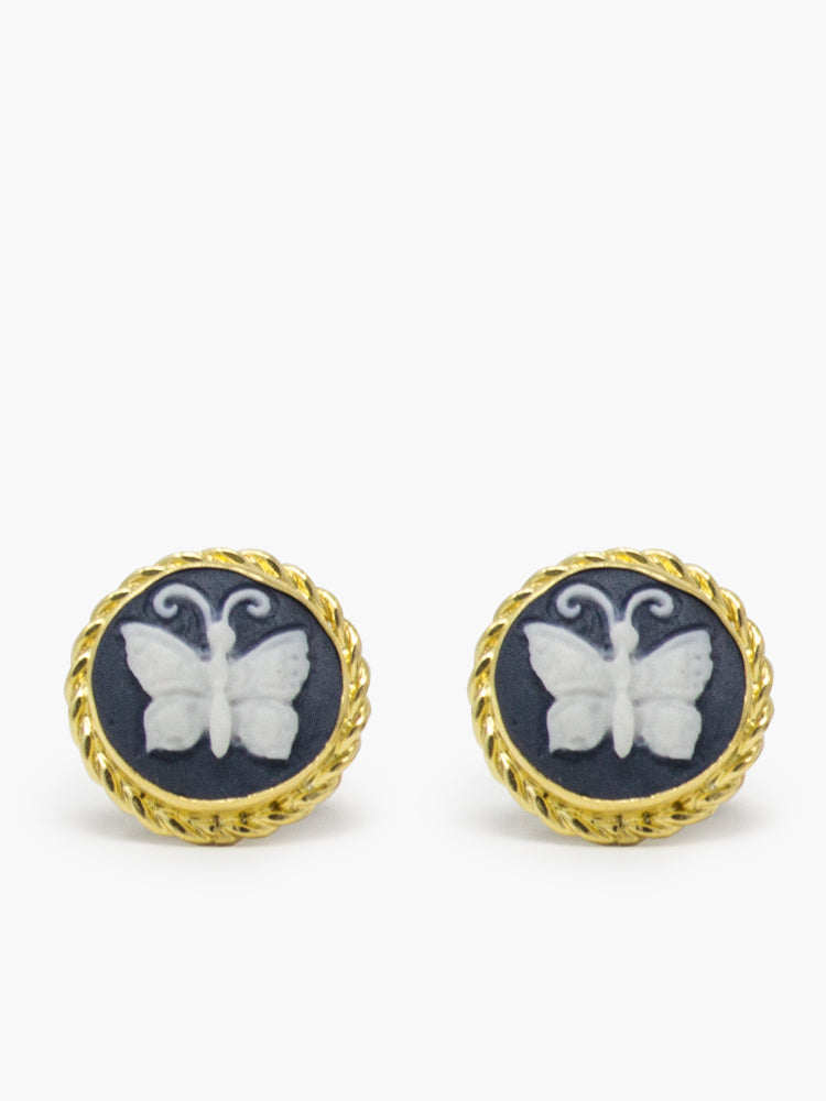 Black Butterfly Cameo Stud Earrings set in 18 kt gold plated silver by Vintouch Jewels.