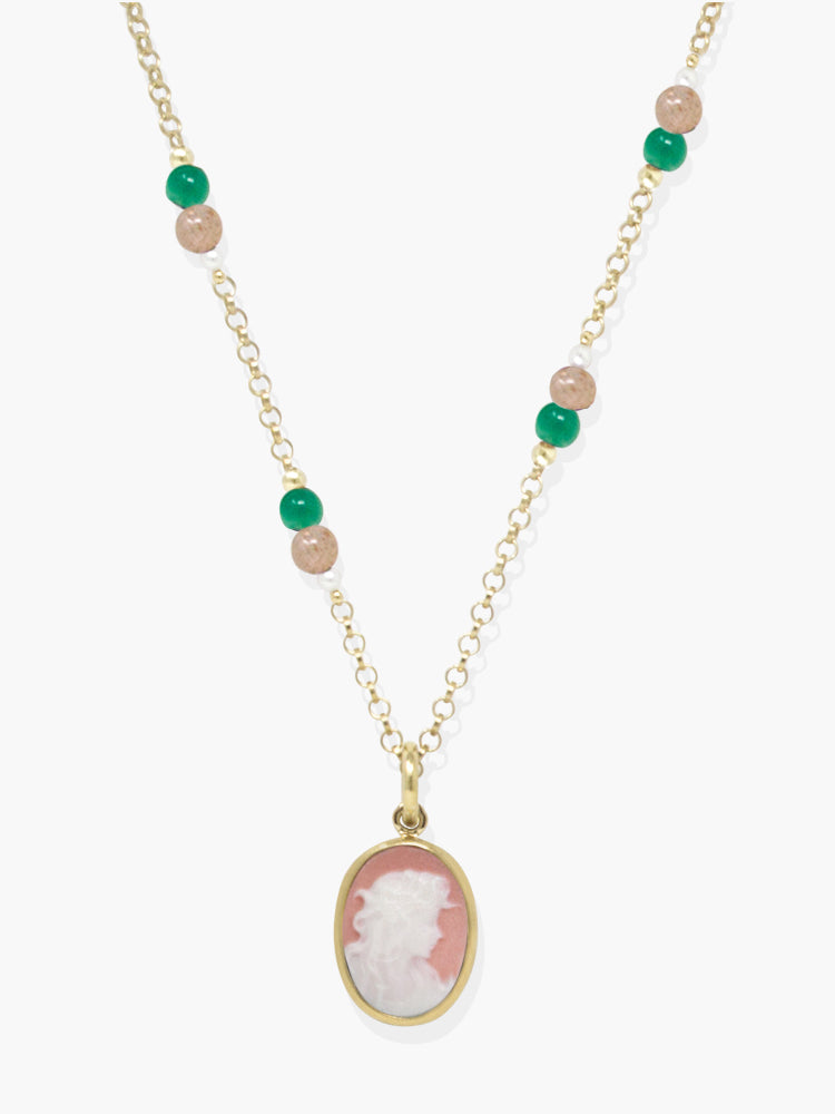 Little Lovelies Gold-plated Pink Cameo Necklace
