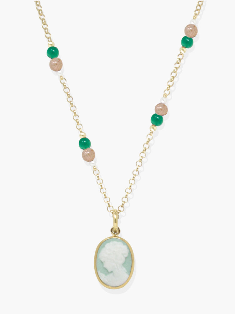 Little Lovelies Gold-plated Green Cameo Necklace