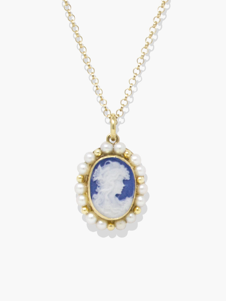 Little Lovelies Blue Cameo Pearly Necklace
