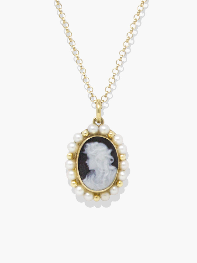 Vintouch Italy Little Lovelies Black Cameo Pearly Necklace