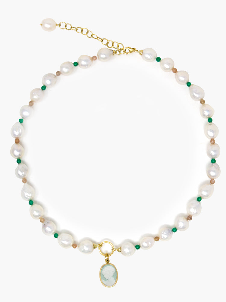Little Lovelies Gold-plated Pearl & Bead Green Cameo Necklace