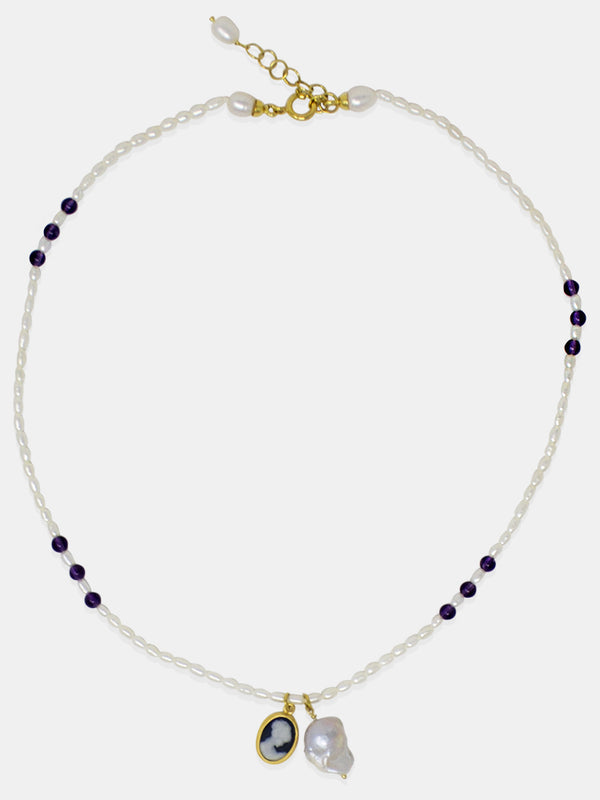 Pearl & Mini Cameo Charm Necklace by Vintouch Jewels, featuring amethyst beads and delicately handmade cameo and pearl charms.