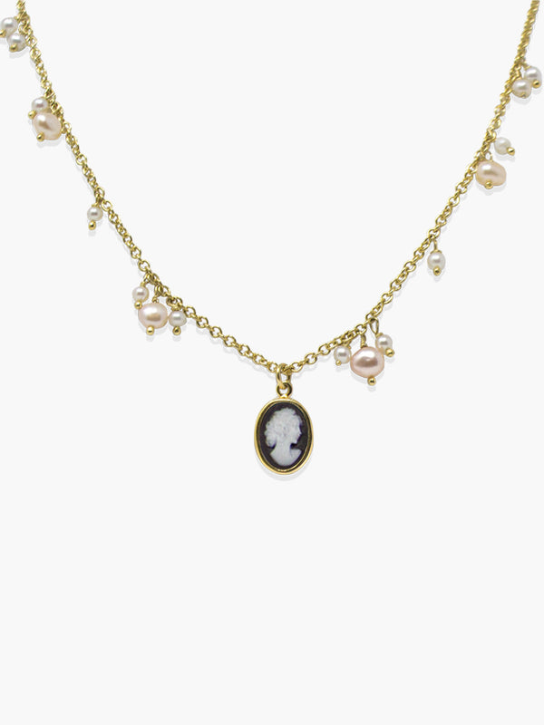 Vintouch's Gold-plated Dainty Pearl Cameo Necklace.