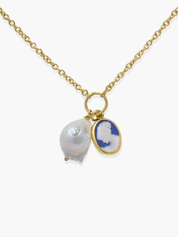 Blue Mini Cameo With A Pearl Necklace