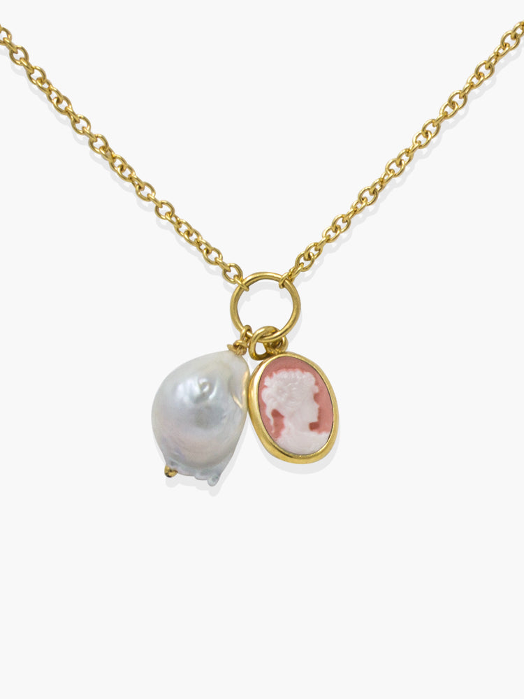 Pink Mini Cameo With A Pearl Necklace