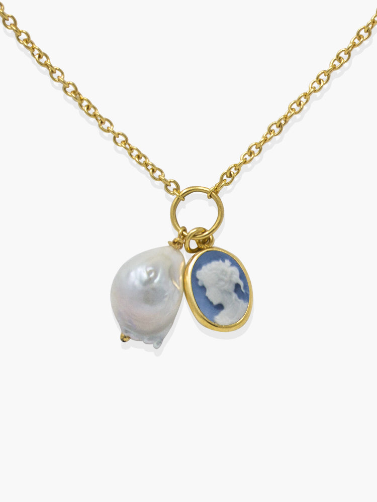 Sky Blue Mini Cameo With A Pearl Necklace