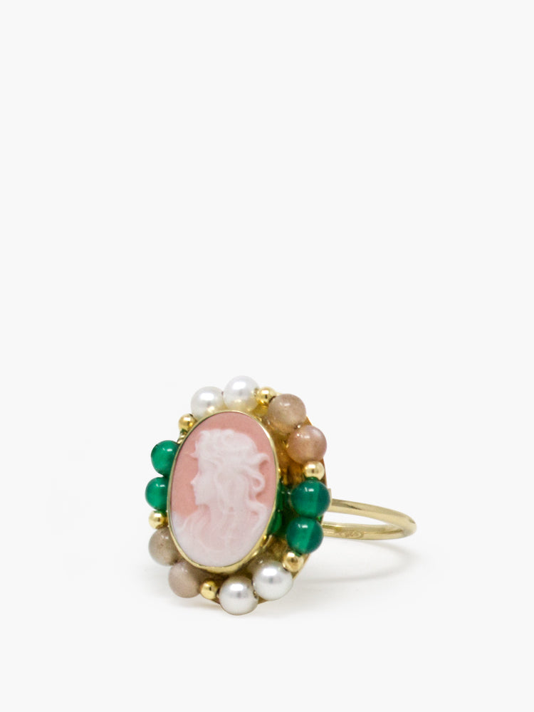 Little Lovelies Gold-plated Pink Cameo Ring