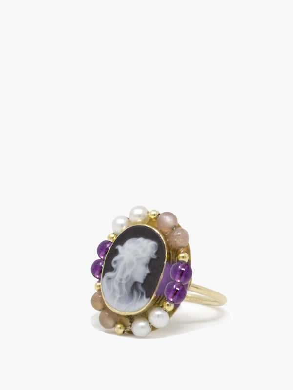 Little Lovelies Gold-plated Black Cameo Ring