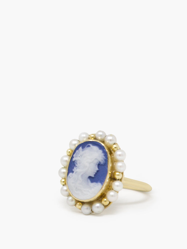 Little Lovelies Blue Cameo Pearly Ring