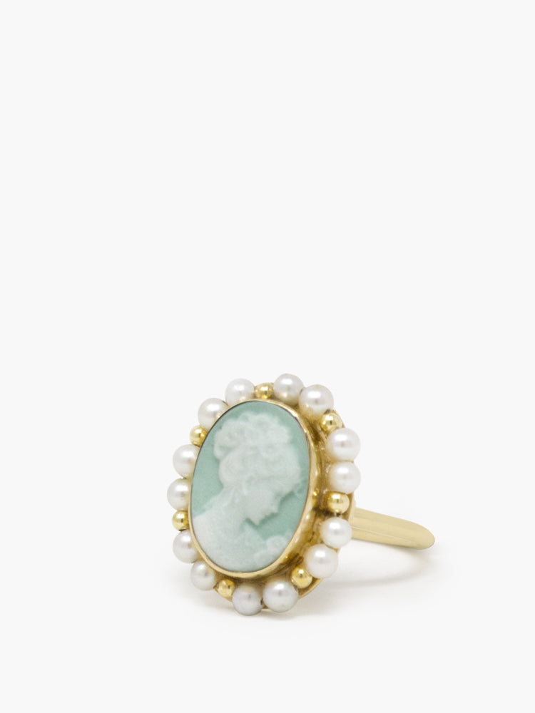Little Lovelies Gold-plated Green Cameo Pearly Ring