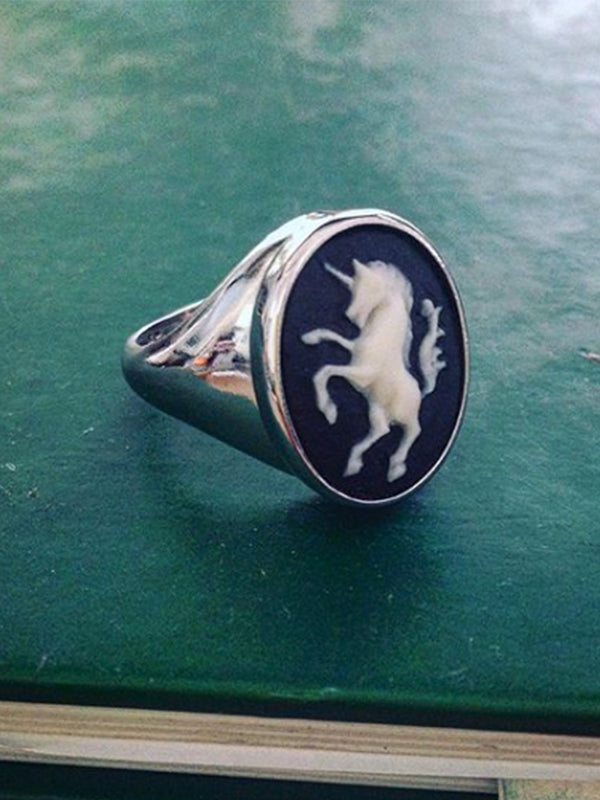 Unicorn Cameo Signet Ring