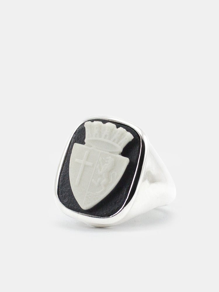 Insignia Cameo Signet Ring by Vintouch Jewels, handmade in Italy.