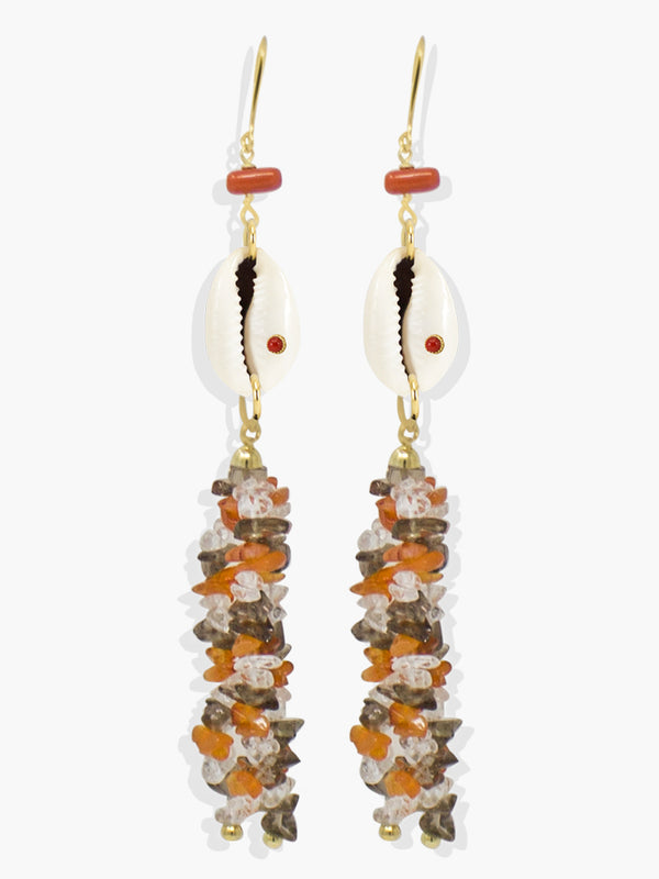 Coral Cowrie Shell Statement Earrings | Vintouch Jewels