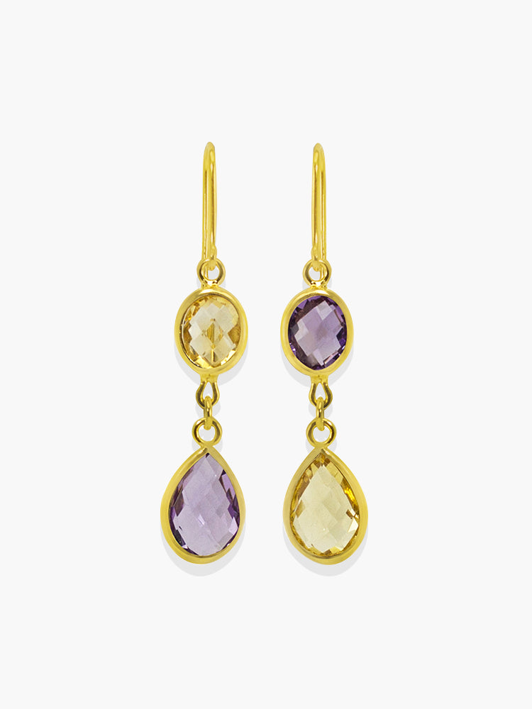 Maiori Multicolor Drop Earrings by Vintouch Jewels handmade with genuine amethyst and yellow citrine quartz available either in 14k yellow gold or 18k gold plated silver