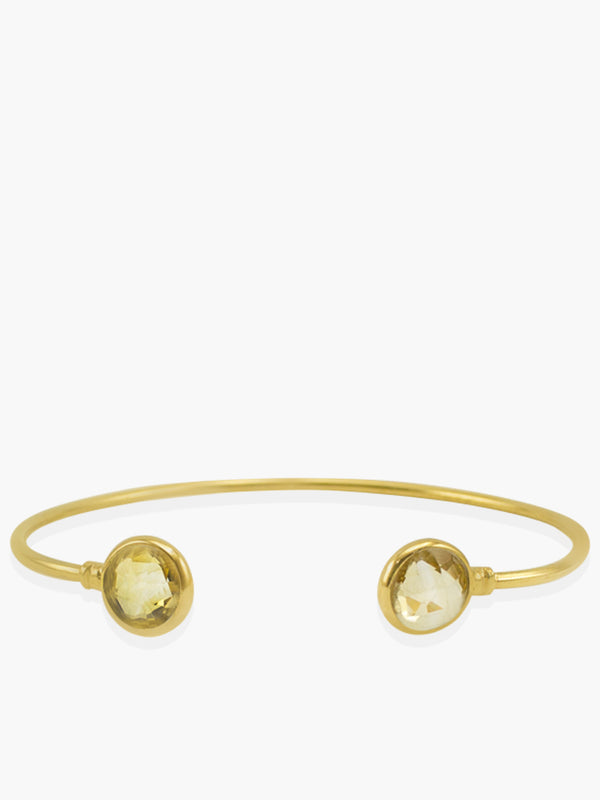 Capri Citrine Cuff Bracelet handmade by Vintouch Jewels in 18k gold plated silver